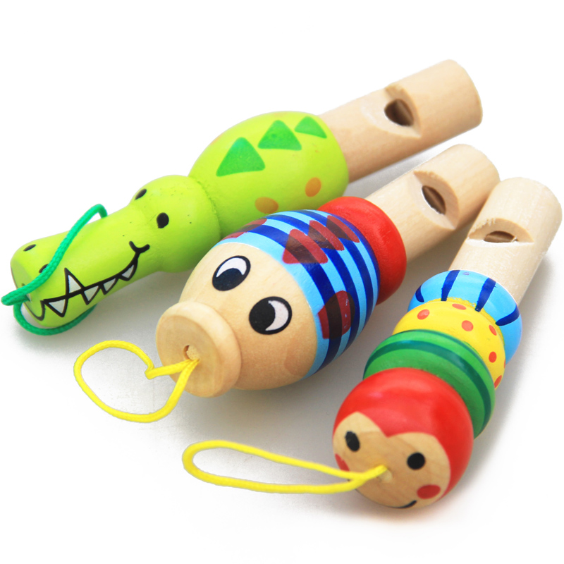 1Pc Infant Whistling Toy Wooden Random Color Toys Cartoon Animal Whistle Educational Music Instrument Toy For Baby Kids Children