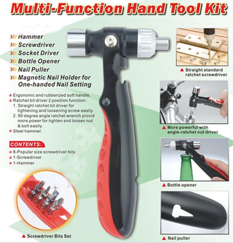 Többfunkciós kézi szerszámkészlet Funkcionális biztonsági kalapács racsnis csavarhúzó fejhüvely kombinált szerszám körömnyitó
