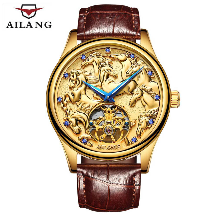 AILANG Mens Watches Top Brand Luxury Tourbillon Automatic Mechanical Watch Men Casual Fashion Leather Strap Skeleton Wristwatch sollen mens watches top brand luxury moon phase automatic mechanical watch men casual fashion leather strap skeleton wristwatch