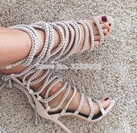 Women Sexy Lace Up Chain Tassel Sandals Stylish Metal Decoration Sandals Shoes Fastening Crossed Tie Fringe Shoes Rope Sandals