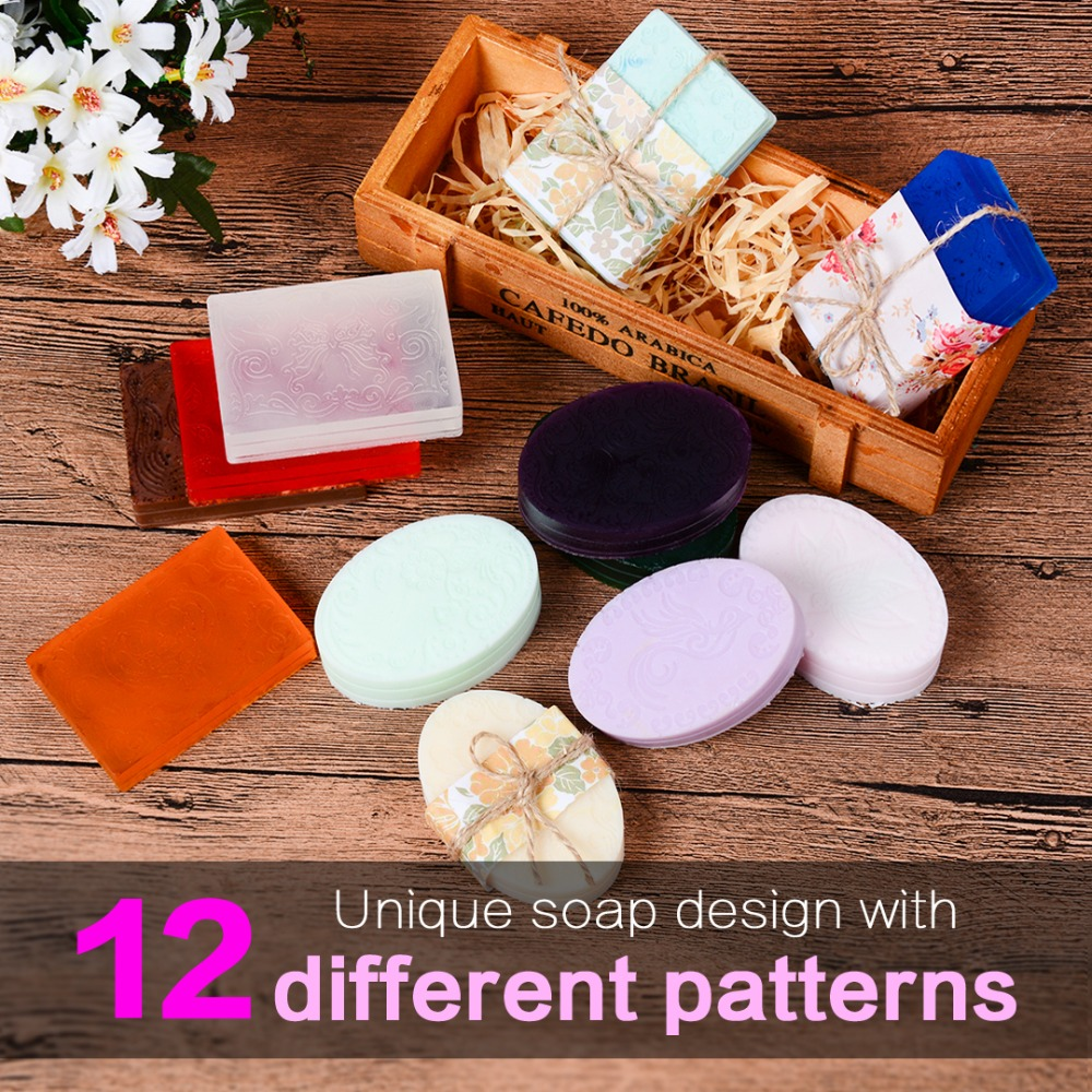 SILIKOLOVE 2 Pack Silicone Soap Mold For Soap Making DIY Handmade Flowers Soap Moulds 12 Patterns Great Self-Making Gifts