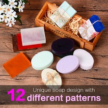 SILIKOLOVE 2 Piecs Silicone Soap Mold for Soap Making DIY Handmade Flowers Soap Moulds 12 Patterns Great Self Making Gifts