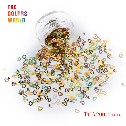 Tct-050 полые сердца Форма Лазерная красочные Глиттеры для ногтей 4 мм Размеры для ногтей Гели для ногтей украшения Макияж facepaint DIY украшения - Цвет: TCA200  50g