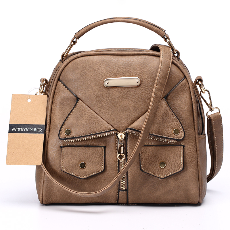 Annmouler Brand Women Messenger Bag Kvinna Double Zipper Handväska Pu Läder Mode Dam Shoulder Bag Women Crossbody Bag