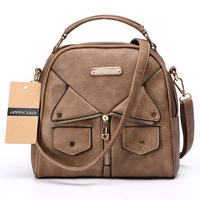 Annmouler Brand Women Messenger Bag Female Double Zipper Handbag Pu Leather Fashion Ladies Shoulder Bag Women