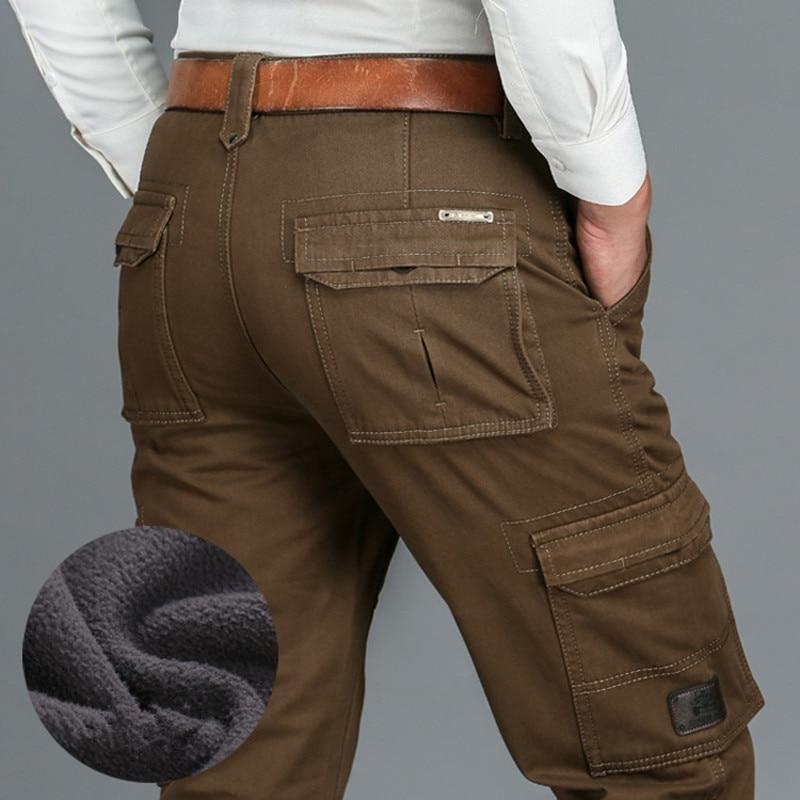 ICPANS Plus Size 40 42 44 Fleece Warm Winter Pants Men Loose Casual Pants Cargo Men's Clothes  Army Green Khaki Black Overalls