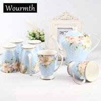 Wourmth фарфор Кофе указан Европейский Стиль Чай комплект Керамика Британский костяного фарфора Чай горшок и Чай Чашки с роскошный подарок