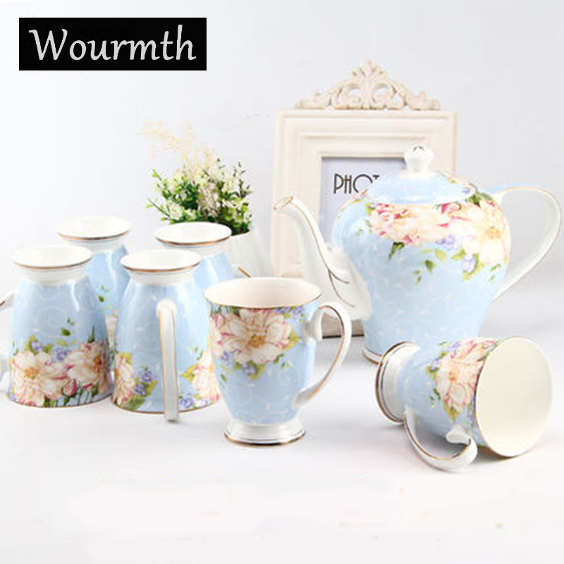 Wourmth Porcelain Coffee Set European Style Tea Set Ceramic British Bone China Teapot And Tea Cups With Luxury Gift
