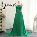 BW394 Real Photos Long Bridesmaid Dresses Sexy Chiffon One Shoulder Green Beads Bridesmaid Dress Plus Women Wedding Guest Dress