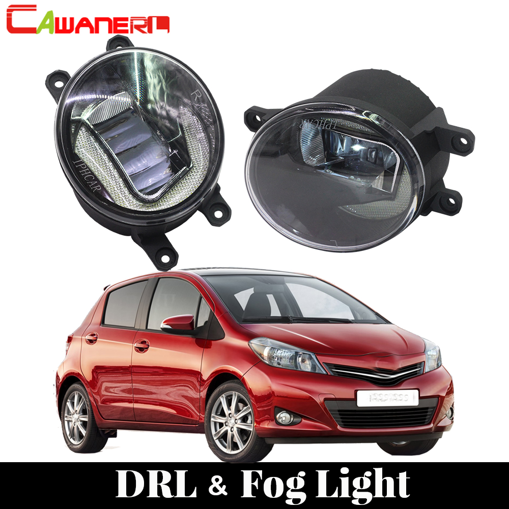 Cawanerl Car Accessories LED Lamp Fog Light DRL Daytime Running Light White 12V Styling 2 Pieces For Toyota Yaris 2006-2013 1 set white led daytime running fog light drl for toyota mark x reiz 2013 2015