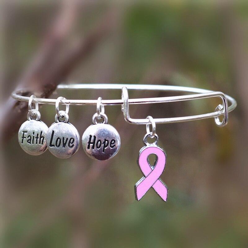 Oneckoha fashionable breast cancer awareness bangle faith for Faith hope love jewelry