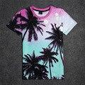 Envío de Las Mujeres y de Los Hombres de La Camiseta 3d Print Gradiente De Coco árboles Camisetas Casual Camisetas de Manga Corta de Verano de Estilo Hip-Hop