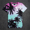 Free Shipping Women and Men's T Shirt 3d Print Gradient Coconut Trees T Shirts Casual Short Sleeve Tops Summer Style Hip Hop