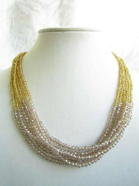 2017 New Arrival Sale Collares Collier Maxi Necklace Champagne  Golden Bead Multistrand 6 Line Bridesmaid Bib Statement
