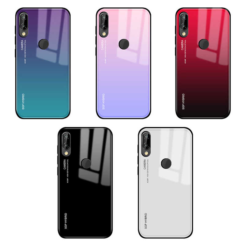 Gradient Tempered Glass Phone Case For Huawei P30 P20 P10 Mate 20 Pro Lite light Back Cover Protective Case Shell For mate 20x