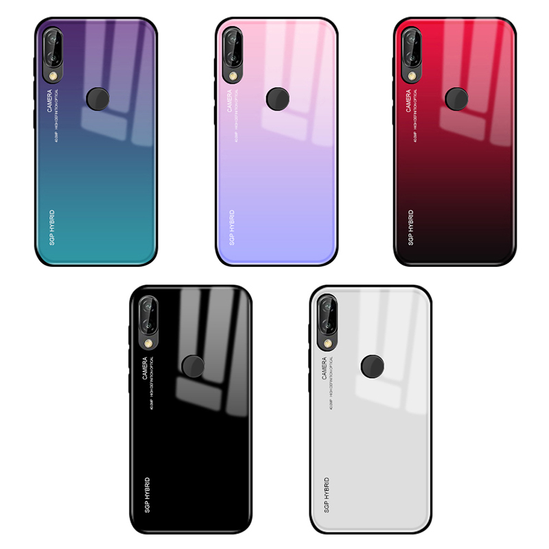 Gradient Tempered <font><b>Glass</b></font> Phone <font><b>Case</b></font> For <font><b>Huawei</b></font> P30 P20 <font><b>P10</b></font> Mate 20 Pro Lite light Back Cover Protective <font><b>Case</b></font> Shell For mate 20x image