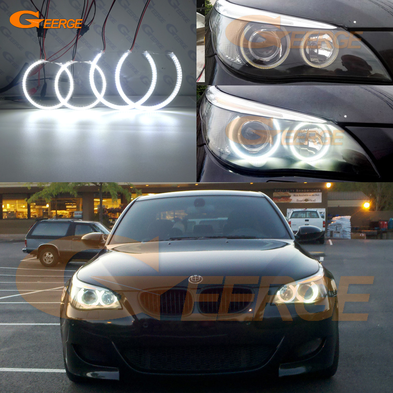 BMW E60 E61 525I 530I 540I 545I 550I M5 2003-2007 Xenon Far Mükemmel Ultra parlak aydınlatma smd led melek gözler kiti