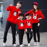 Family Look Long Sleeves Clothing Cartoon Mickey Dress Thickening Family Matching Outfits Children Baby Kids Girl Boy Clothe Set