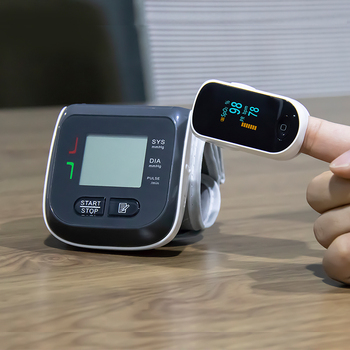 BOXYM Digital Fingertip Pulse Oximeter Spo2 PR Monitor & Wrist Blood Pressure Monitor Sphygmomanometer Family Health Care 2