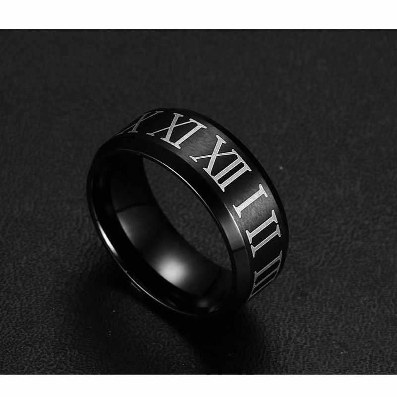 Vnox numerais Romanos anel preto de aço inoxidável cool men anel jóias de casamento cocktail