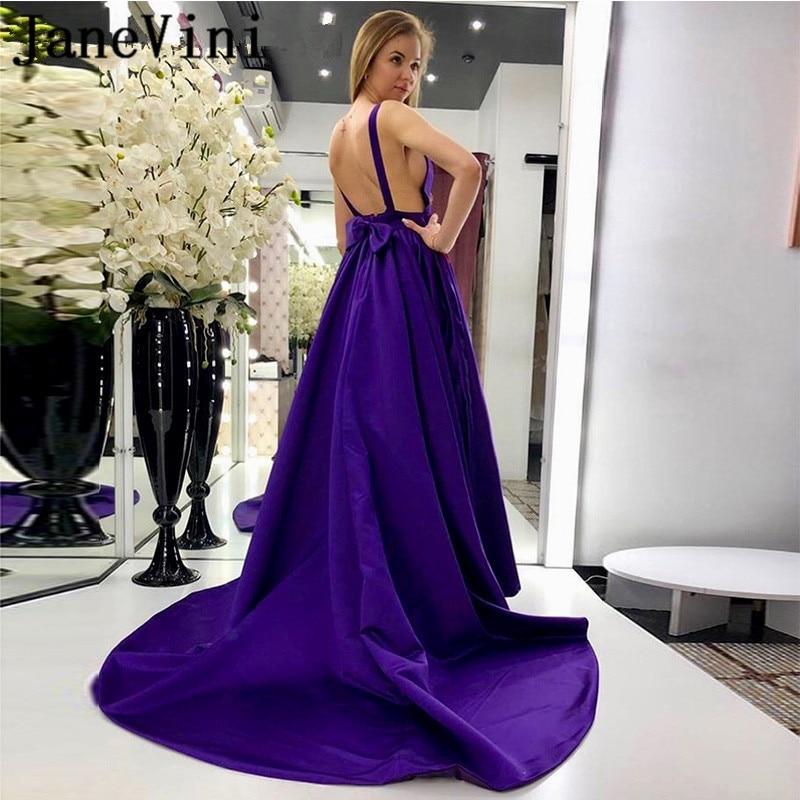 JaneVini Sexy Purple Plus Size Long   Prom     Dresses   2019 V Neck Sleeveless Open Back A Line Satin Evening Gowns Vestidos De Gala