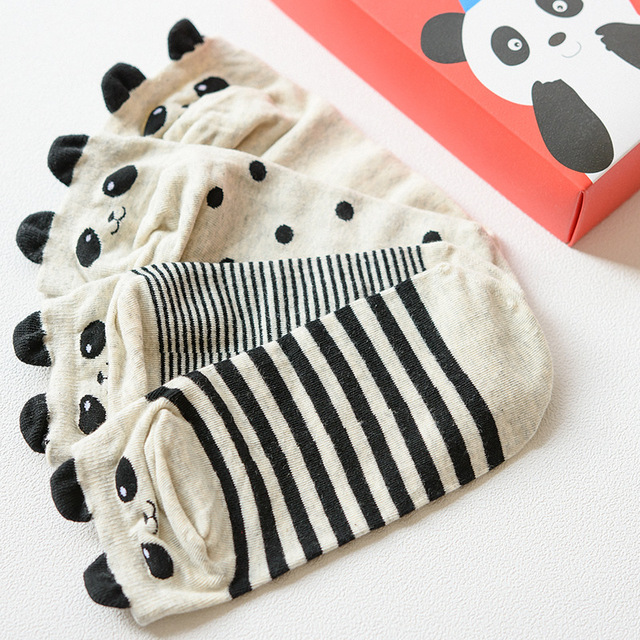 4 Pairs 3d Panda Patterns Cotton Socks