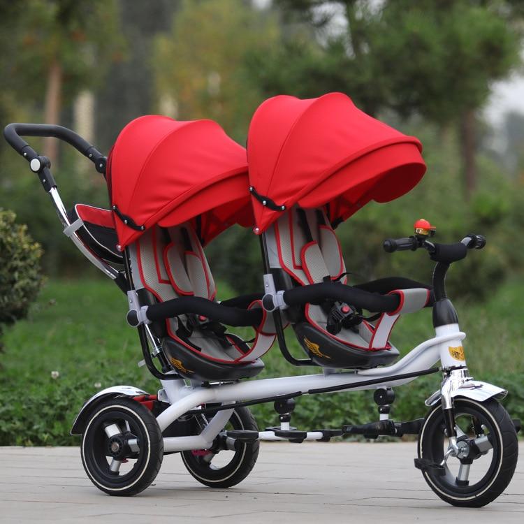 Бесплатная доставка три колеса велосипеда Jin Ming близнецов детский трехколесный велосипед двойной ручной толчок велосипед сиденье двусторо