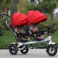 Gratis Verzending Drie Wielen Fiets Jin Ming Twins Kinderen Driewieler Dubbele Hand Push Fietsstoeltje Twee-weg Kinderwagen