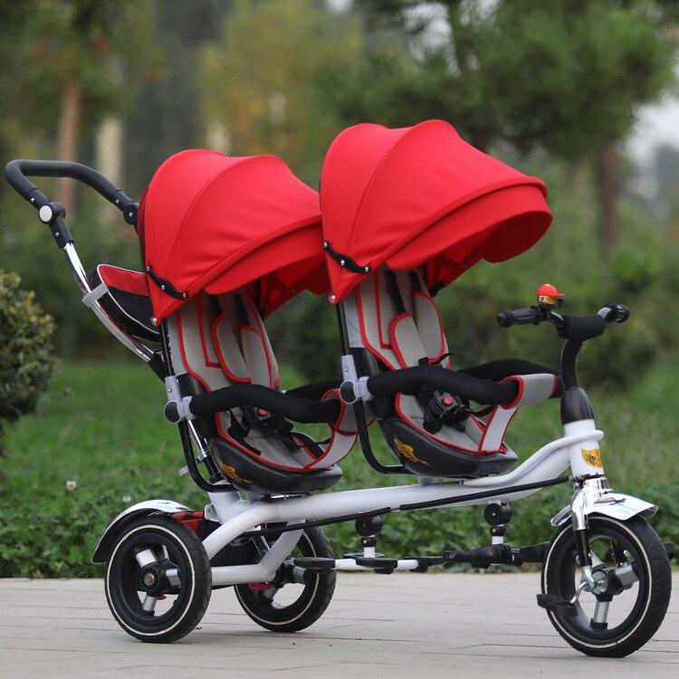 Livraison Gratuite Trois Roues Vélo Jin Ming Jumeaux Enfants Tricycle Double Main Push Vélo Siège dans les Deux Sens Poussette