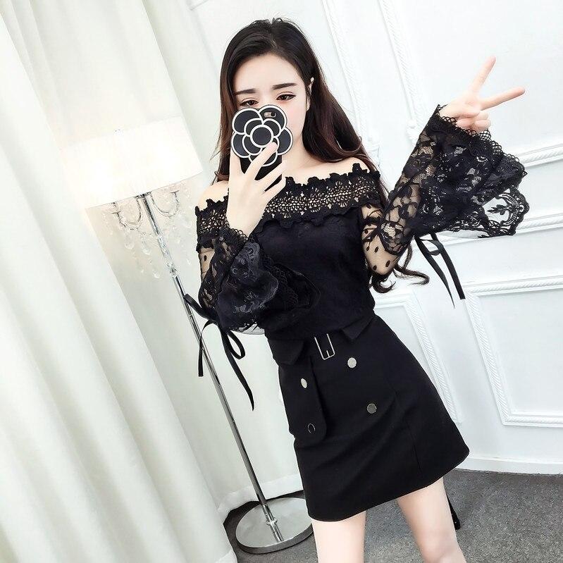 2017 New Winter Cute Slash Neck Flare Sleeve Lace Sweet Dew Shoulder Net Price Blouse Shirt