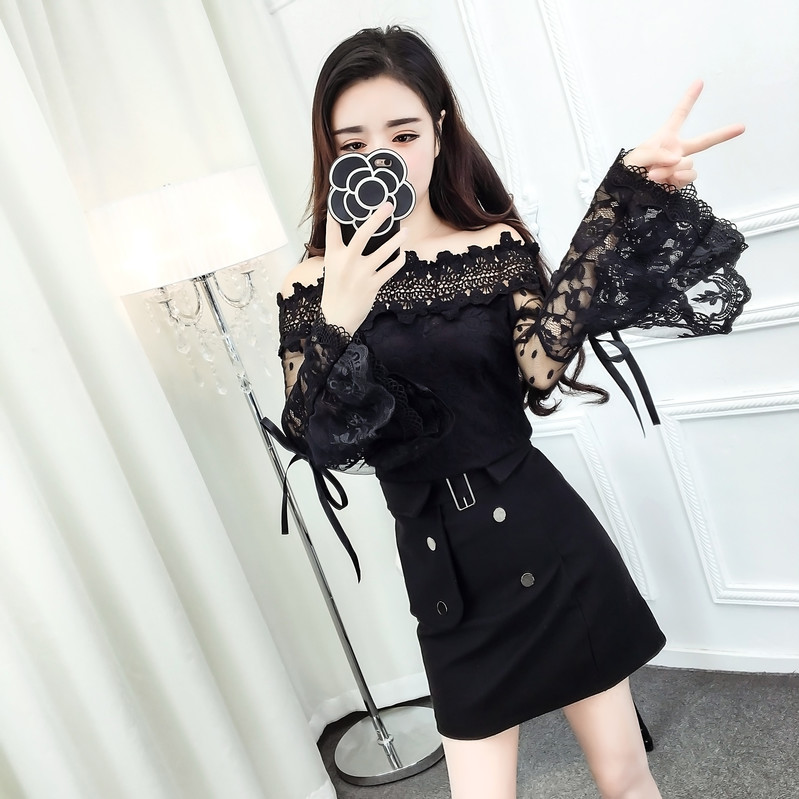 2017 New Winter Cute Slash Neck Flare Sleeve Lace Sweet Dew Shoulder Net Price Blouse Shirt