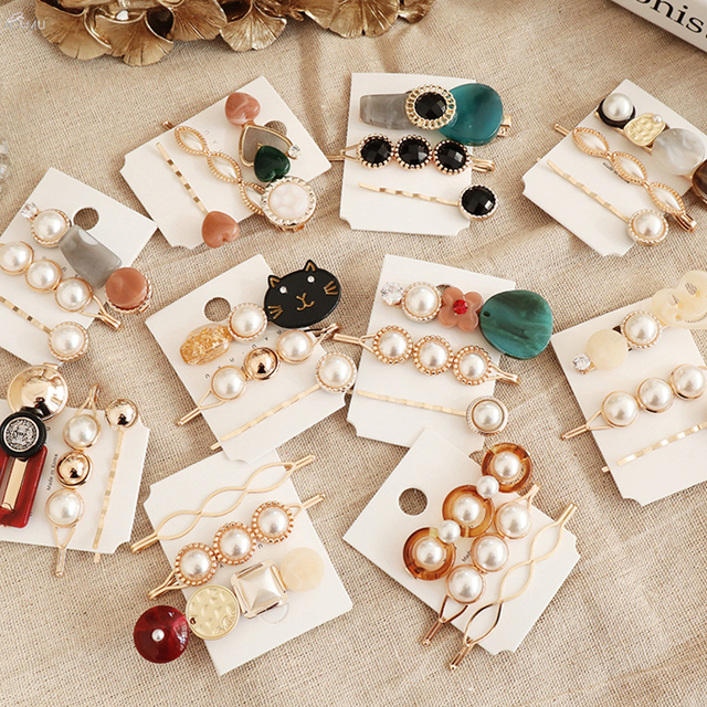 AOMU 3PCS Korea Vintage Acrylic Resin Beads Hairpins Imitiation Pearl Metal Gold Color Hair Clips Hair Accessories for Women