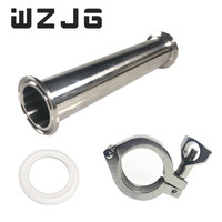 WZJG 1.5OD 38MM Sanitary Spool Tube Ferrule 50.5MM Flange +PTFE Gasket +Tri Clamp Pipe Fittings Length 4/6/8/12/18/24