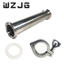 "Wzjg 1.5 ""od 38mm 위생 스풀 튜브 페룰 50.5mm 플랜지 + ptfe 가스켓 + 트라이 클램프 파이프 피팅 길이 4""/6 ""/8""/12 ""/18""/24"""