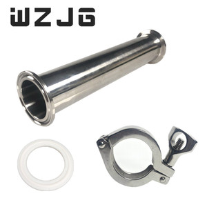 "Image 1 - Wzjg 1.5 ""od 38mm 위생 스풀 튜브 페룰 50.5mm 플랜지 + ptfe 가스켓 + 트라이 클램프 파이프 피팅 길이 4""/6 ""/8""/12 ""/18""/24"""