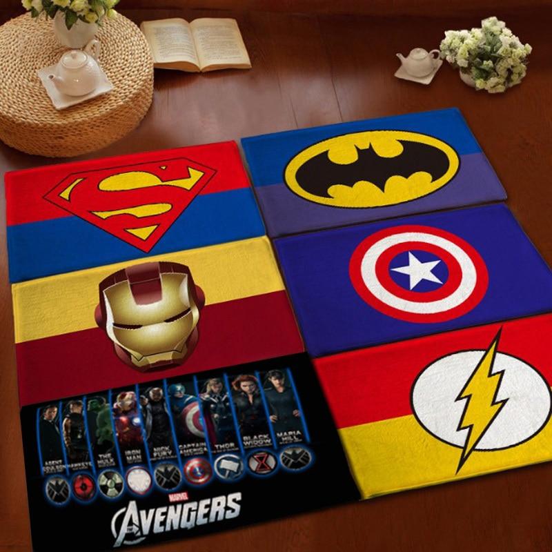 Superman Batman Flannel Carpet Bathroom Water Absorption Non Slip Rug Brand  Bedroom Porch Doormat Floor