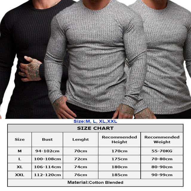 Puimentiua 2019 Men's Autumn Casual Knit Sweater Slim  Solid Muscle Long Sleeve Plain Top Curved   Fashion Sweaters 1