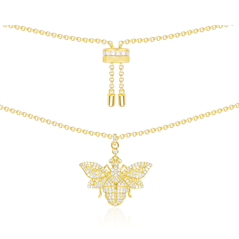 SLJELY 925 Sterling Silver Yellow Gold Color Wasp Necklace Zircon Bee Pendant Women Monaco Jewelry January