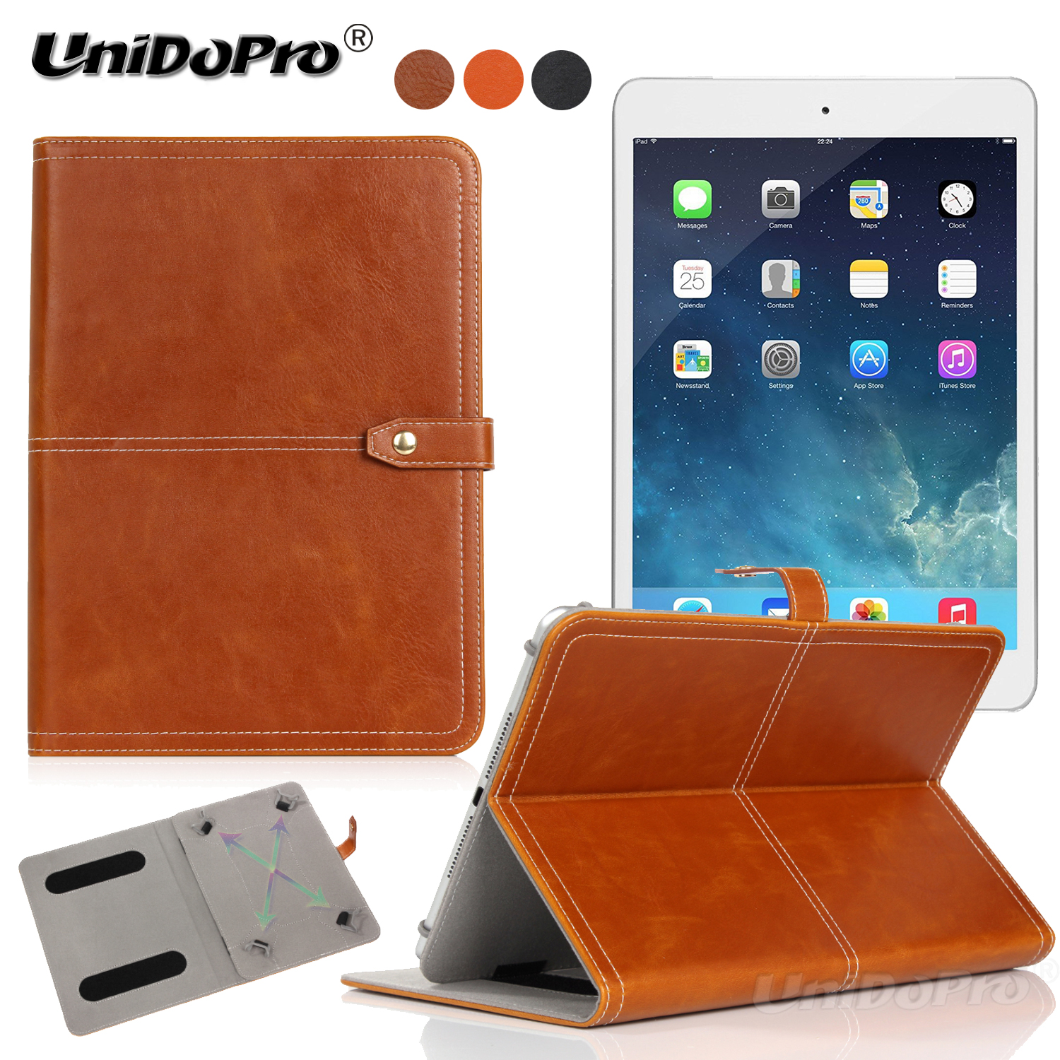 Unidopro Shockproof PU Leather Protective Folio Case for iPad Mini 4 3 2 1 A1538 A1550 A1599 Tablet w/ Multi-angle Stand Cover