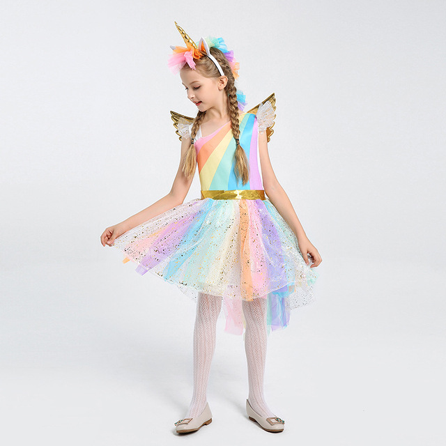 38c77fdff363 Kids Magical Rainbow Horse Fantasy Child Girls Unicorn Halloween Or  Birthday Party Fancy Costume