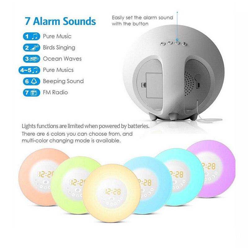 Светодиодный светильник Sunrise Wakeup, белый, теплый белый, RGB, будильник, светильник, FM, цифровой радио, светодиодный, Ночной светильник, меняющий ... - 3