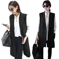 Hot Sales Ladies Casual Sleeveless Long Waistcoat Thin Coat Jacket Cardigan Suit Vest