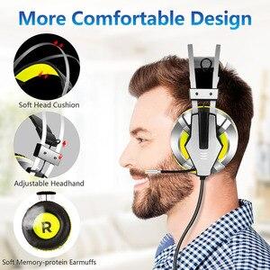Image 3 - Eksa e800 gamer fone de ouvido macio earpads sobre a orelha gaming headset azul amarelo fones de ouvido com girar mic led luz para ps4 pc xbox