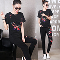 2017 summer new women's fashion butterfly embroidered round neck Slim was thin casual two-piece track suit girl set