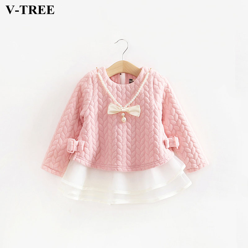 V-TREE Girls Dress Pearl Lace Long Sleeve Princess Dresses For Baby Girl Gowns Wedding Party Clothing Autumn Children Costume high quality girls baby bright leaf long sleeve lace dress princess bud silk dresses children s clothing wholesale