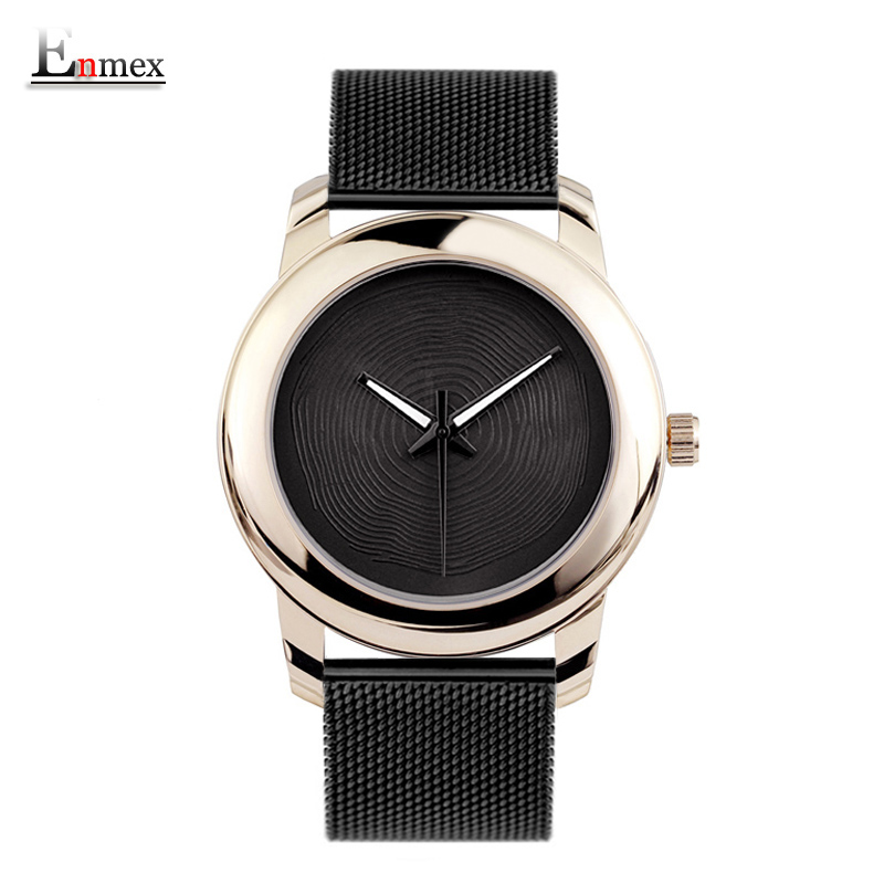 2018 Enmex creative style cool wristwatch gloden Luminous hands with stainless steel strap fashion Stylish clock quartz watch gift enmex creative style lady wristwatch silver 3d vortex face creative design silicone band luminous brief casual quartz watch