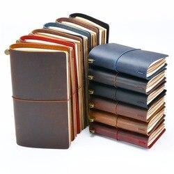 حار بيع 100% جلد طبيعي مفكرة اليدوية خمر جلد البقر دفتر يوميات كراسة الرسم مخطط شراء 1 الحصول على 11 اكسسوارات هدية