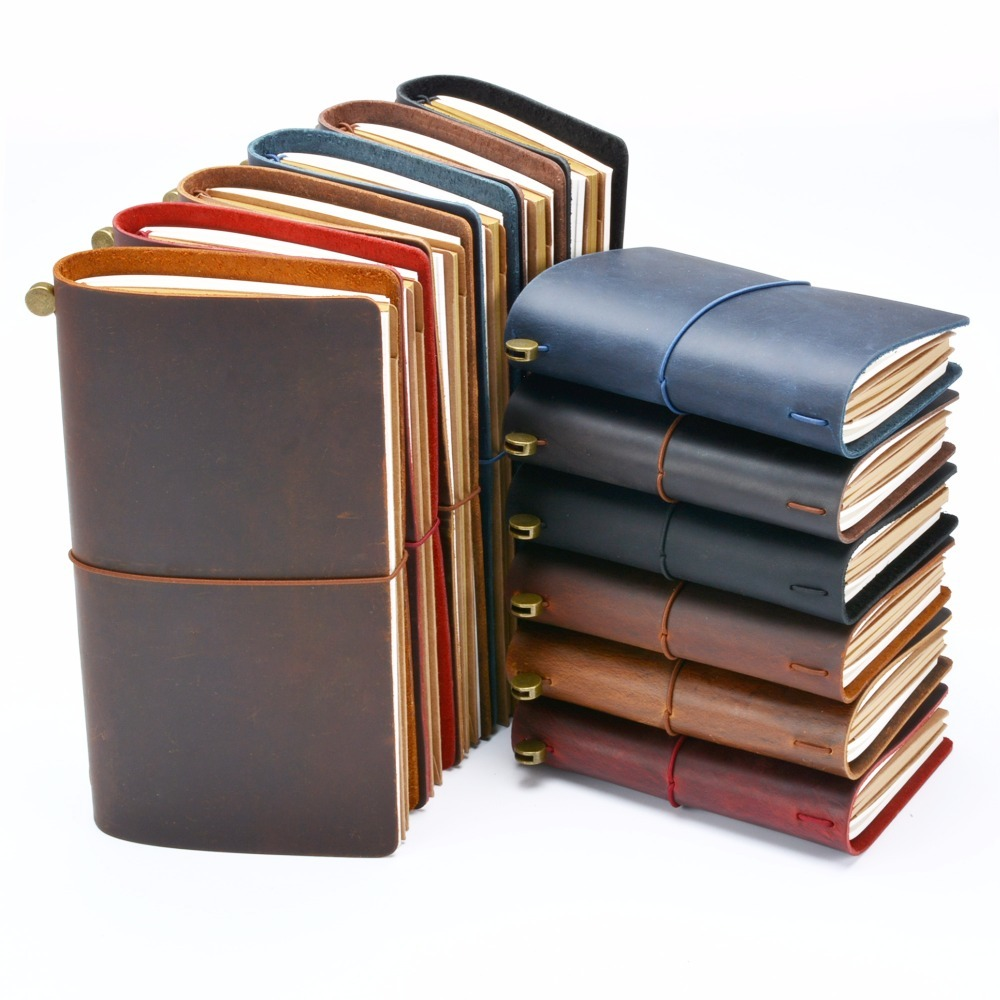 цена на Hot Sale 100% Genuine Leather Notebook Handmade Vintage Cowhide Diary Journal Sketchbook Planner Buy 1 Get 11 Accessories Gift
