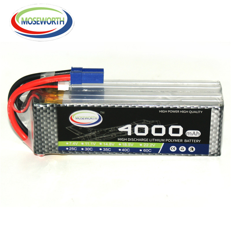 MOSEWORTH 6S RC LiPo Battery 22.2V 4000mah 25C Li-ion Batteria for Airplane Helicopter Quadrotor Drone High rate cell AKKU 4 2v 6a 1s lithium battery protection pcb bms board for 18650 18550 li ion lipo battery cell