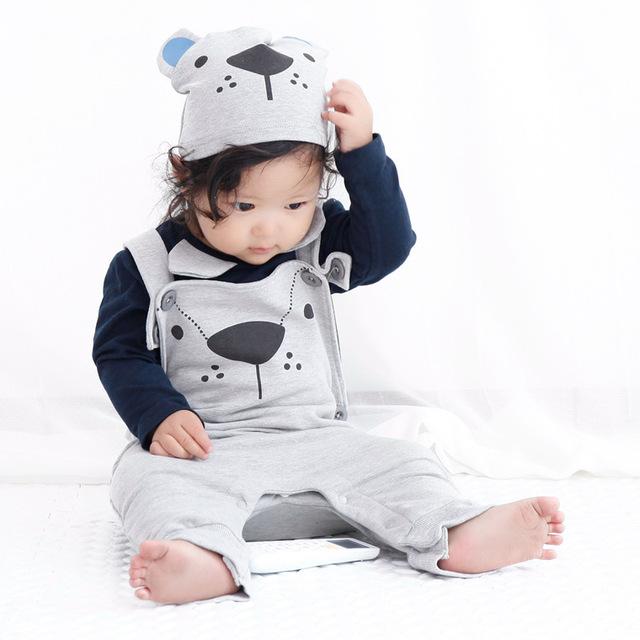 Primavera 2016 Mameluco Estilo Macacão de Algodão do bebê Roupas Das Meninas Dos Meninos Do Bebê Recém-nascido Suspensórios Bebê Com Manga Longa Frete Grátis
